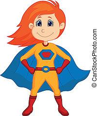 superhero, dessin animé, gosse