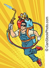superhero, essence, cylindres, worker., professionnel, soudeur