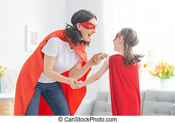 superhero, famille, costumes
