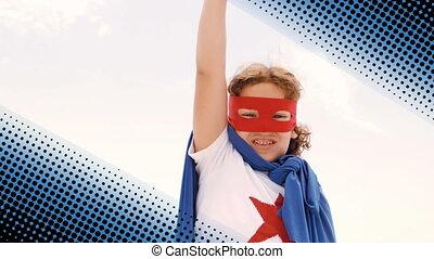 superhero, garçon, déguisement, porter