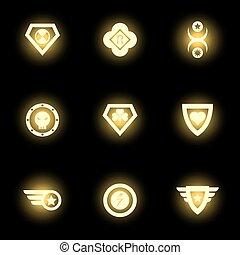 superhero, icônes, emblème, noir, logo, ou, toile de fond