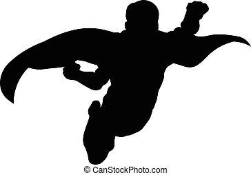 superhero, voler, silhouette