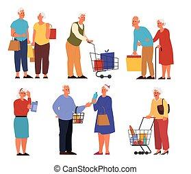 supermarché, byuing, légumes, ensemble, fruits, charrettes, vieux gens
