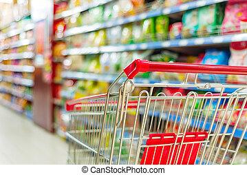 supermarché, charrette