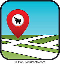 supermarket., rue, icône, indicateur, carte