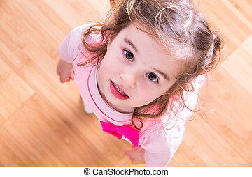 suppliant, petite fille, yeux, joli
