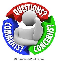 support client, comments, diagramme, inquiétudes, questions