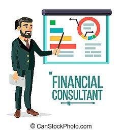 support., plat, financier, business, market., conseiller, diagrammes, blackboard., diagrammes, illustration, recherche, graphiques, homme affaires, vector., isolé, professionnel, reports., management., caractère
