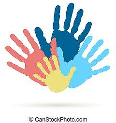 support., uni, famille, handprint, équipe, vecteur