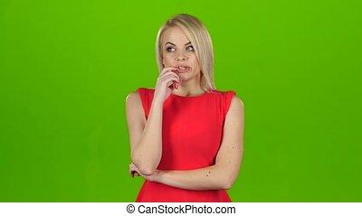 sur, écran, question, pensée, answer., studio, trouvé, vert, blond