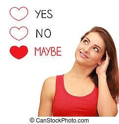 sur, amour, romantique, pensée, peut-être, décision, isolé, fond, confection, girl, blanc