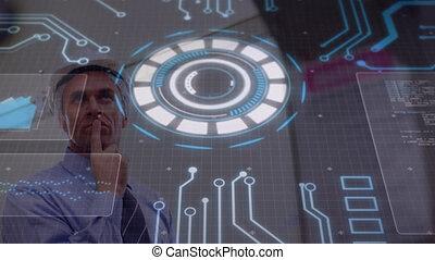 sur, animation, incandescent, homme, scanner, tourner, chapeau, circulaire, dur, circuitboard