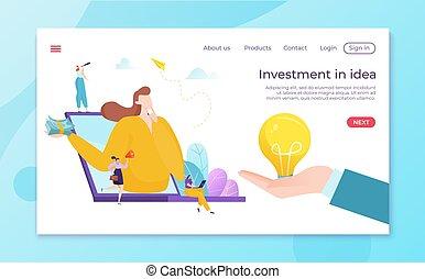 sur, argent, professionnel, symbole, illustration., fond, personne, finance, concept, idée, business, vecteur, investir, décision, caractère, homme affaires