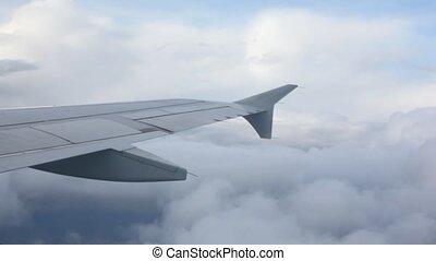 sur, avion, nuages, aile