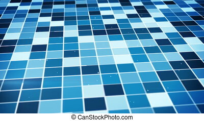 sur, bleu, incandescent, carrés, voler