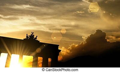 "sur, ""brandenburg, portail, coucher soleil, animation"", 3d"