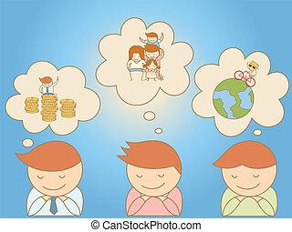 sur, but, hommes affaires, vie, rêver