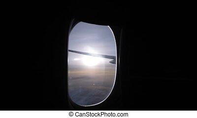 sur, cabine, avion, vue, horizon, sombre, hublot, soleil, clair