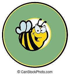 sur, cercle, vert, sourire, abeille
