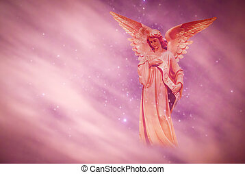 sur, ciel, ange, fond, pourpre