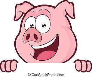 sur, cochon, regarder, planche, tenue, signe blanc