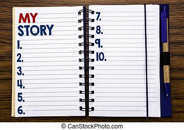 sur, concept, business, papier, texte, projection, stylo, écriture, note, bois, écrit, cahier, dire, fond, marker., dire, vous, mon, story.