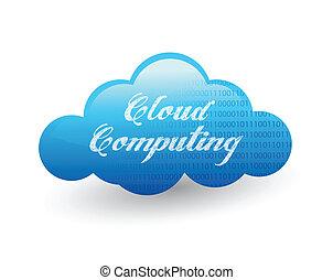 sur, conception, nuage, illustration, calculer