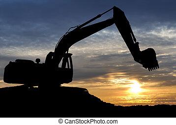 sur, coucher soleil, excavateur, chargeur