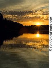 sur, coucher soleil, forêt lac