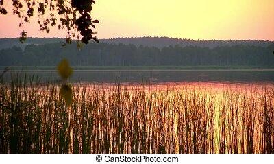 sur, coucher soleil, lac