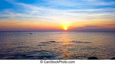 sur, coucher soleil, mer, ciel, beau, dramatique