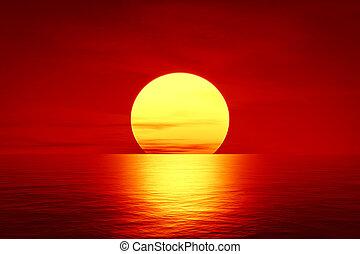 sur, coucher soleil, rouges, océan