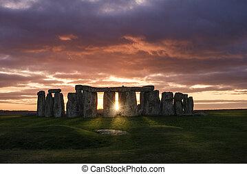 sur, coucher soleil, stonehenge