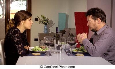 sur, déjeuner, épouse, conversation, sérieux, pendant, maison, problème, homme
