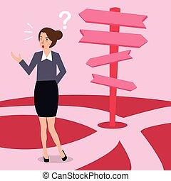 sur, direction, concept, décision économique, confondu, choix, femme, flèche, confection, avenir, chemin, route