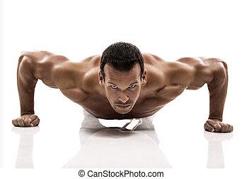 sur, dmaking, isolé, augmente, fond, poussée, blanc, muscle, studio, homme