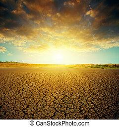 sur, dramatique, coucher soleil, toqué, désert