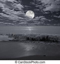 sur, entiers, ocean., lune