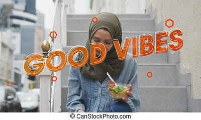 sur, femme, vibes, texte, manger, salade, animation