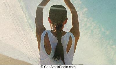 sur, femme, yoga, réseaux, dehors, connexions, pratiquer, animation