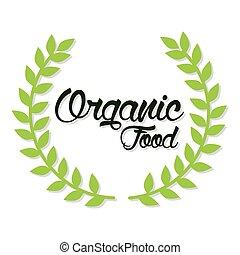 sur, feuilles, organique, fond, blanc, lettrage, nourriture
