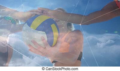 sur, gens, jouer, réseaux, connexions, animation, volley-ball