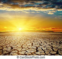 sur, global, warming., dramatique, coucher soleil, la terre, toqué