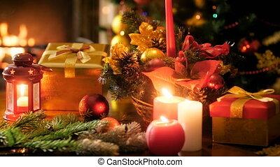sur, hiver, brûlé, métrage, arbre, fetes, incandescent, appareil photo, 4k, panoramique, table, décoré, cheminée, noël