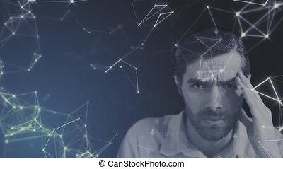 sur, homme affaires, connexions, accentué, animation, réseau