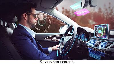 sur, interface, soi, homme affaires, numérique, voiture, conduite, animation