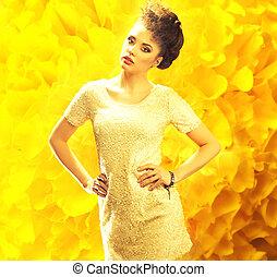 sur, jeune, fond jaune, frais, dame