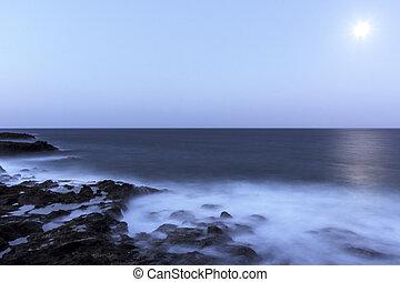 sur, lanzarote, -, lune, océan