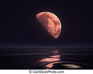 sur, lever lune, rouges, océan