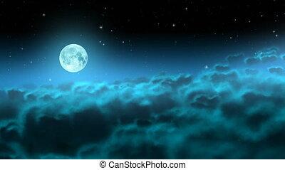 sur, lune, nuages, boucle, nuit